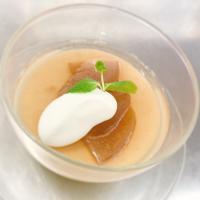 本日のおすすめデザートメニュー「カスタードのムースとりんごの赤ワインコンポート」@恵比寿の大人の隠れ家 鉄板焼き バンブーグラッシィ